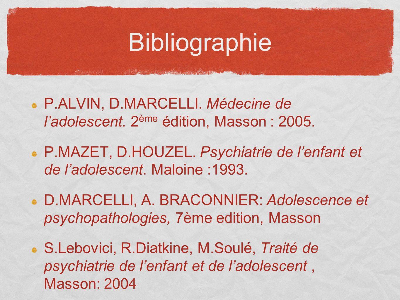 Bibliographie P.ALVIN, D.MARCELLI. Médecine de ladolescent. 2 ème édition, Masson : 2005. P.MAZET, D.HOUZEL. Psychiatrie de lenfant et de ladolescent.