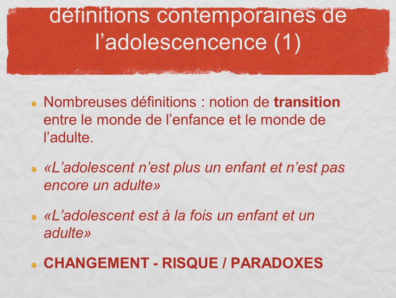 définitions contemporaines de ladolescencence (1) Nombreuses définitions : notion de transition entre le monde de lenfance et le monde de ladulte. «La