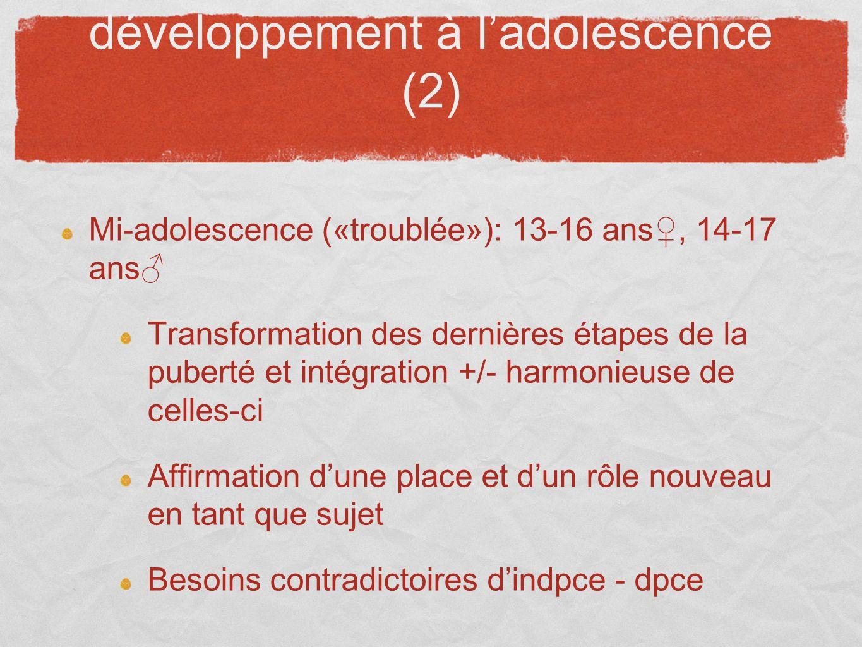 développement à ladolescence (2) Mi-adolescence («troublée»): 13-16 ans, 14-17 ans Transformation des dernières étapes de la puberté et intégration +/