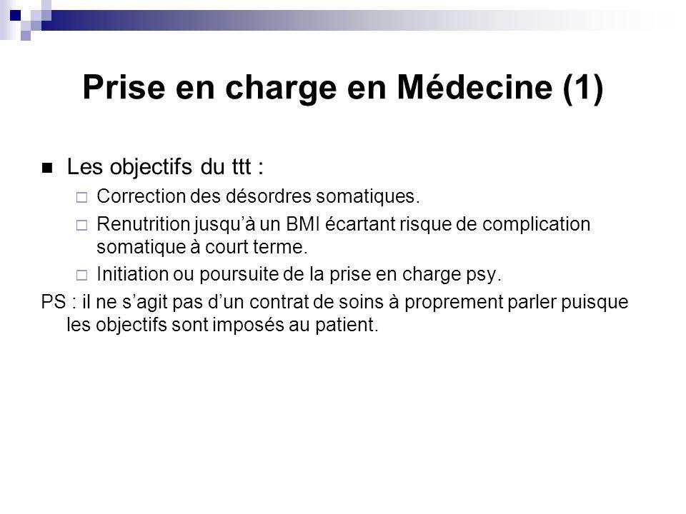 Prise en charge en Médecine (1) Les objectifs du ttt : Correction des désordres somatiques.