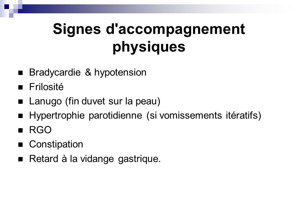 Signes d'accompagnement physiques Bradycardie & hypotension Frilosité Lanugo (fin duvet sur la peau) Hypertrophie parotidienne (si vomissements itérat