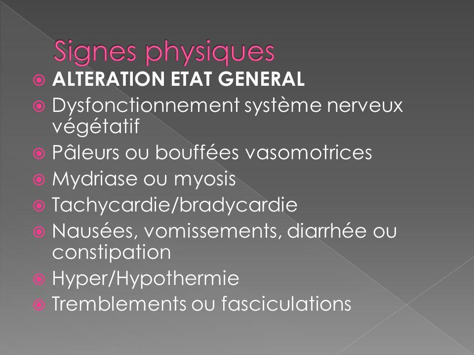 ALTERATION ETAT GENERAL Dysfonctionnement système nerveux végétatif Pâleurs ou bouffées vasomotrices Mydriase ou myosis Tachycardie/bradycardie Nausée