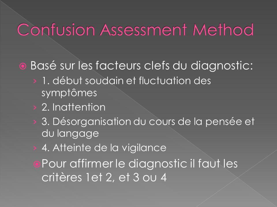 Basé sur les facteurs clefs du diagnostic: 1. début soudain et fluctuation des symptômes 2. Inattention 3. Désorganisation du cours de la pensée et du