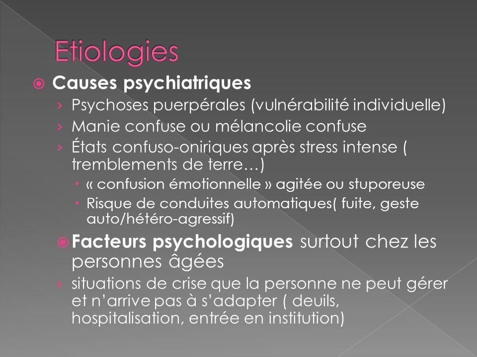 Causes psychiatriques Psychoses puerpérales (vulnérabilité individuelle) Manie confuse ou mélancolie confuse États confuso-oniriques après stress inte
