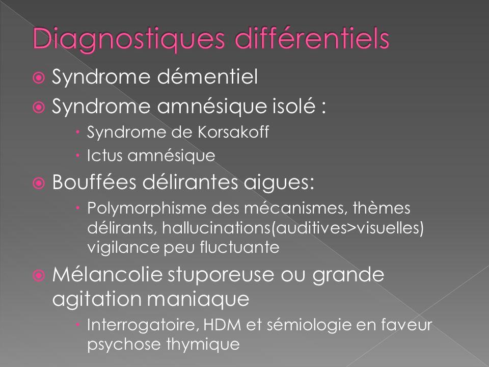 Syndrome démentiel Syndrome amnésique isolé : Syndrome de Korsakoff Ictus amnésique Bouffées délirantes aigues: Polymorphisme des mécanismes, thèmes d