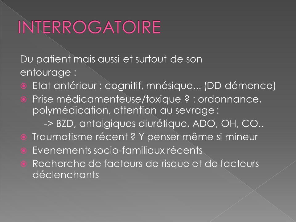 Du patient mais aussi et surtout de son entourage : Etat antérieur : cognitif, mnésique... (DD démence) Prise médicamenteuse/toxique ? : ordonnance, p