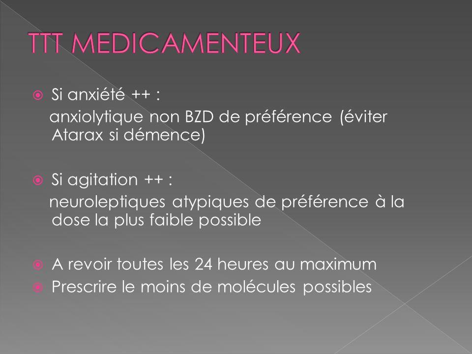 Si anxiété ++ : anxiolytique non BZD de préférence (éviter Atarax si démence) Si agitation ++ : neuroleptiques atypiques de préférence à la dose la pl