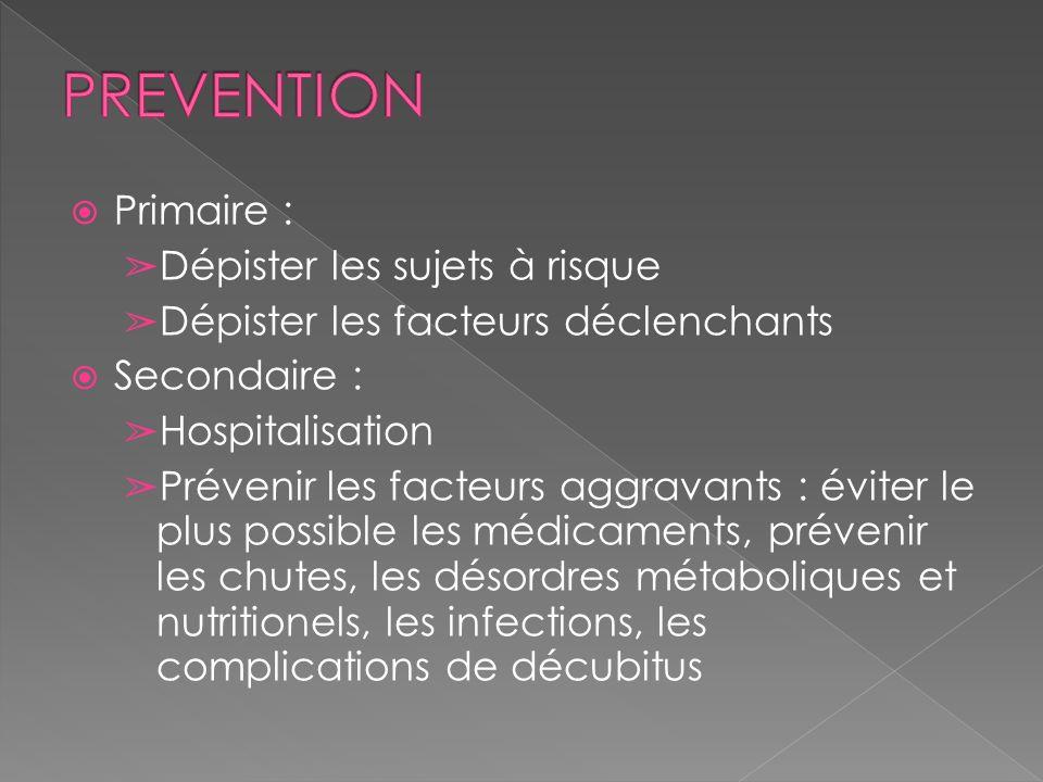 Primaire : Dépister les sujets à risque Dépister les facteurs déclenchants Secondaire : Hospitalisation Prévenir les facteurs aggravants : éviter le p