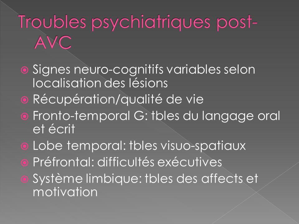 Signes neuro-cognitifs variables selon localisation des lésions Récupération/qualité de vie Fronto-temporal G: tbles du langage oral et écrit Lobe tem