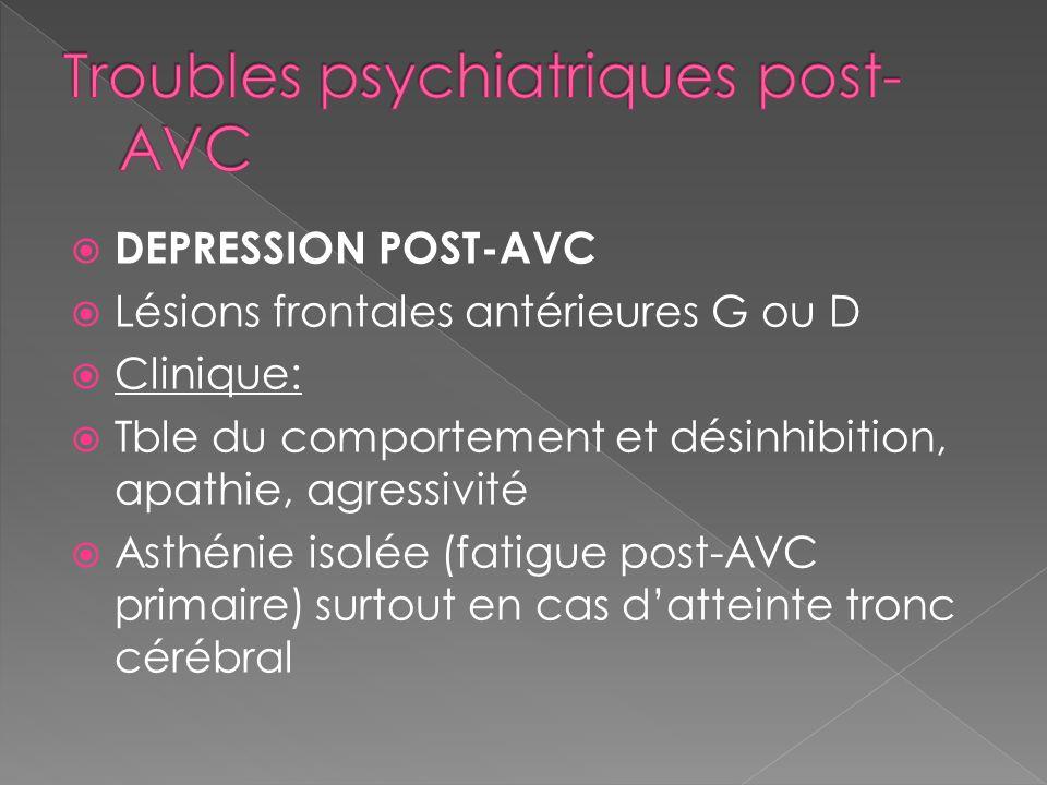 DEPRESSION POST-AVC Lésions frontales antérieures G ou D Clinique: Tble du comportement et désinhibition, apathie, agressivité Asthénie isolée (fatigu