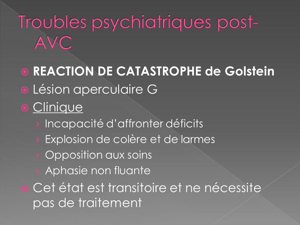 REACTION DE CATASTROPHE de Golstein Lésion aperculaire G Clinique Incapacité daffronter déficits Explosion de colère et de larmes Opposition aux soins