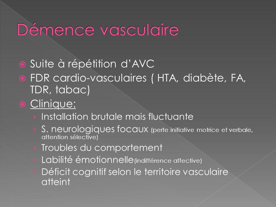 Suite à répétition dAVC FDR cardio-vasculaires ( HTA, diabète, FA, TDR, tabac) Clinique: Installation brutale mais fluctuante S. neurologiques focaux