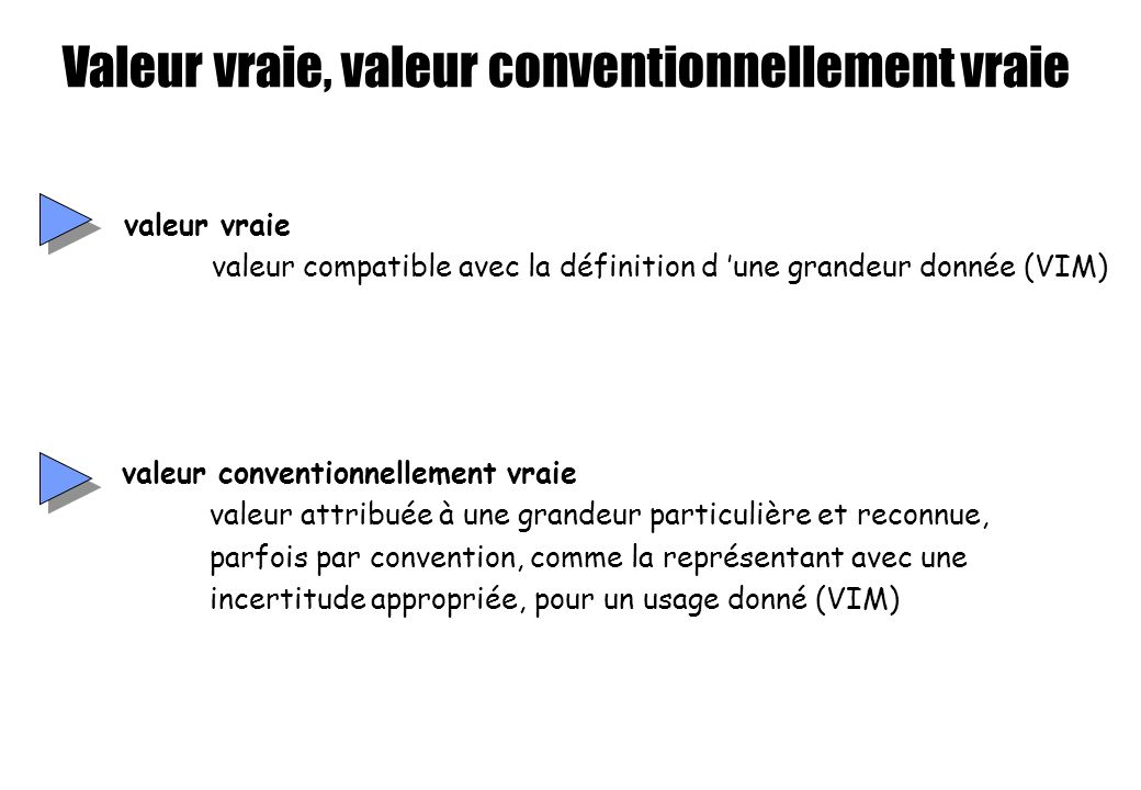 Valeur vraie, valeur conventionnellement vraie valeur vraie valeur compatible avec la définition d une grandeur donnée (VIM) valeur conventionnellemen