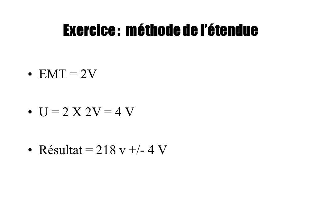 Exercice : méthode de létendue EMT = 2V U = 2 X 2V = 4 V Résultat = 218 v +/- 4 V