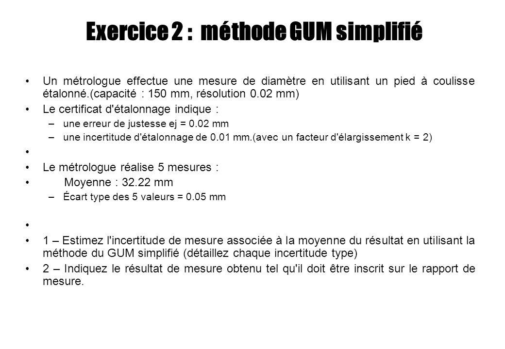 Exercice 2 : méthode GUM simplifié Un métrologue effectue une mesure de diamètre en utilisant un pied à coulisse étalonné.(capacité : 150 mm, résoluti
