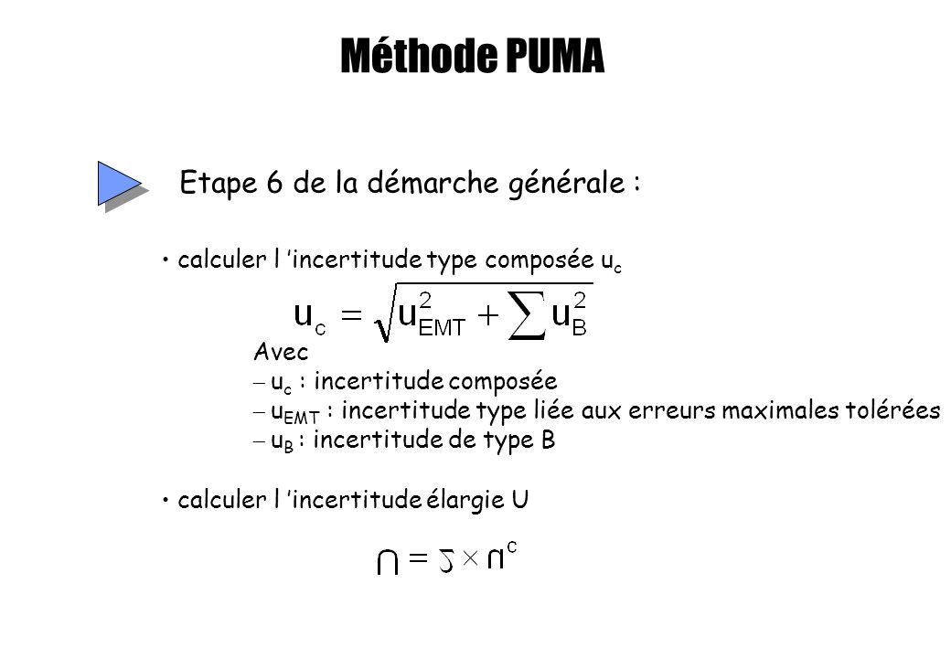 Méthode PUMA Etape 6 de la démarche générale : Avec u c : incertitude composée u EMT : incertitude type liée aux erreurs maximales tolérées u B : ince