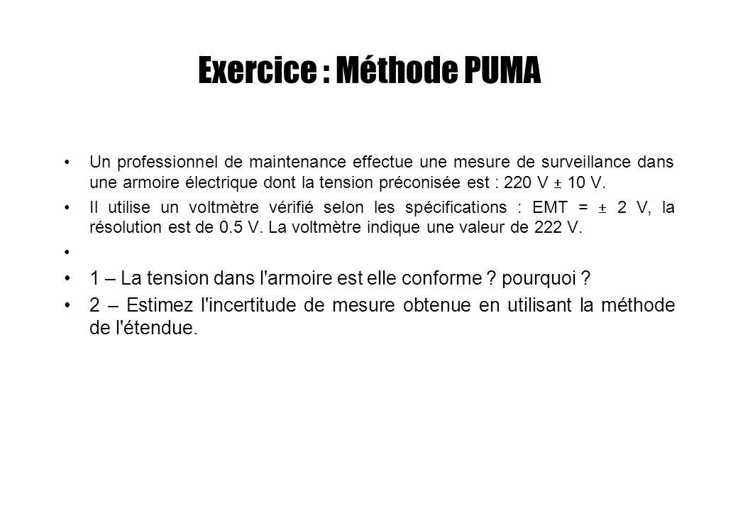 Exercice : Méthode PUMA Un professionnel de maintenance effectue une mesure de surveillance dans une armoire électrique dont la tension préconisée est