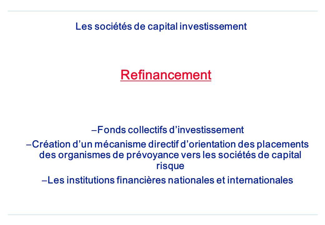 Les sociétés de capital investissement Objet – Concourir au renforcement des fonds propres des sociétés non cotées – Soutenir la création des entrepri