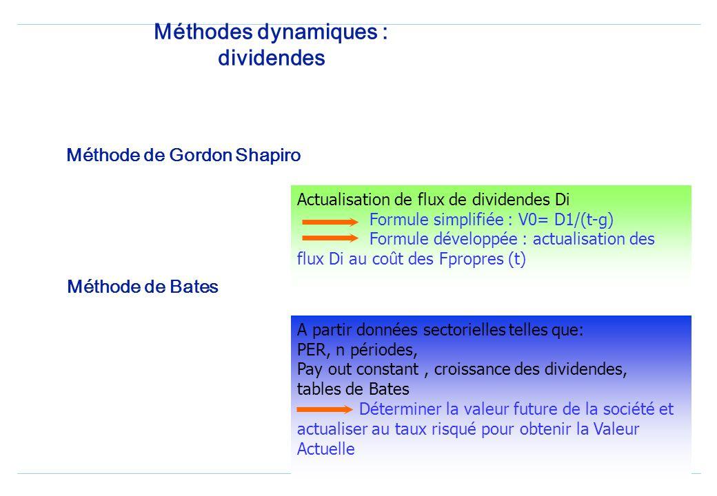 Méthodes dynamiques: évaluation par les flux 3 grands types de flux : les dividendes la création de valeur la trésorerie pour les entreprises en crois