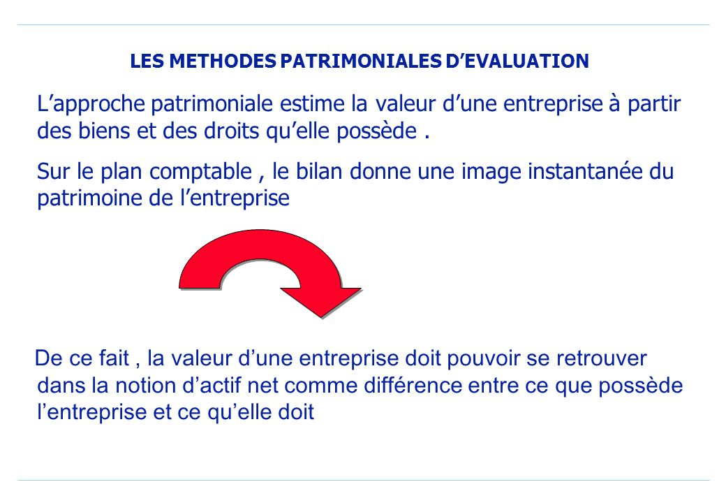 LES METHODES PATRIMONIALES DEVALUATION