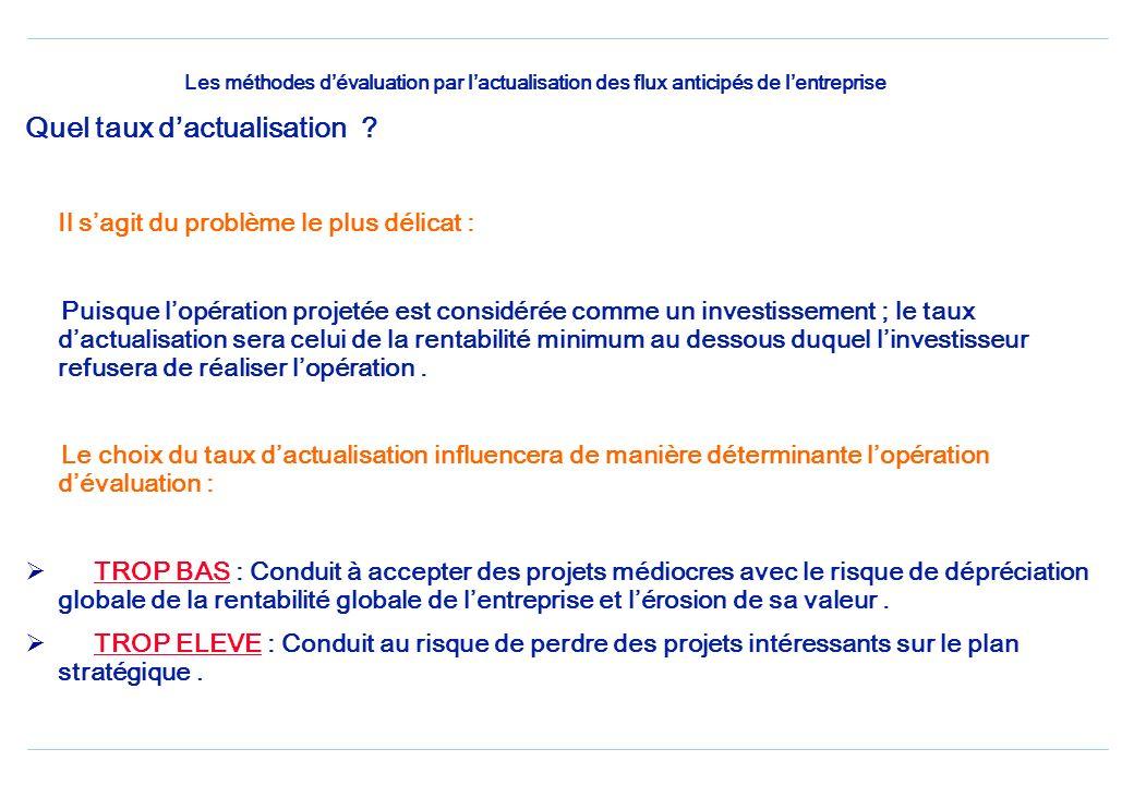 Les méthodes dévaluation par lactualisation des flux anticipés de lentreprise Quelle durée de référence choisir ? Pour obtenir une expression normale