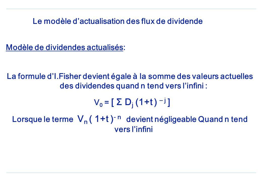 Le modèle dactualisation des flux de dividende Formule fondamentale dIRVING FISHER V 0 = [ Σ D j (1+t ) – j ] + V n ( 1+t ) - n Avec j=1 à n V 0 = rep