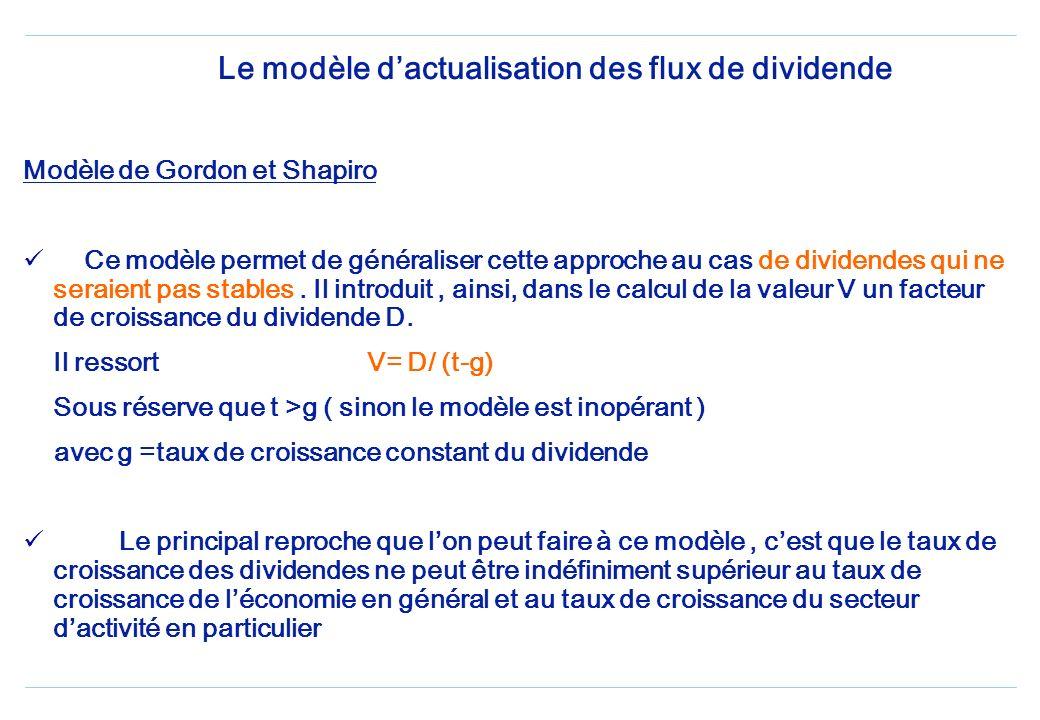 Ce modèle repose sur lhypothèse dun dividende constant et versé pendant une période illimitée. Cest la raison pour laquelle cette méthode est fréquemm