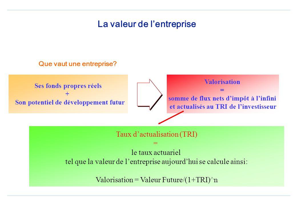 Le prix du risque Cest le taux de rentabilité à exiger de tout actif (TRI) Pour une entreprise cotée, ce taux est celui du marché financier, et calcul