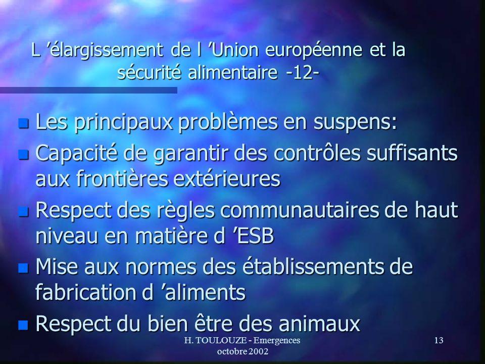 H. TOULOUZE - Emergences octobre 2002 13 L élargissement de l Union européenne et la sécurité alimentaire -12- n Les principaux problèmes en suspens: