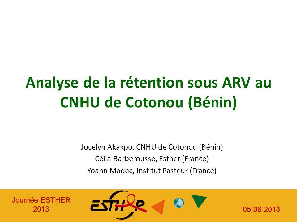 Journée ESTHER 2013 05-06-2013 Journée ESTHER 2013 05-06-2013 Analyse de la rétention sous ARV au CNHU de Cotonou (Bénin) Jocelyn Akakpo, CNHU de Coto
