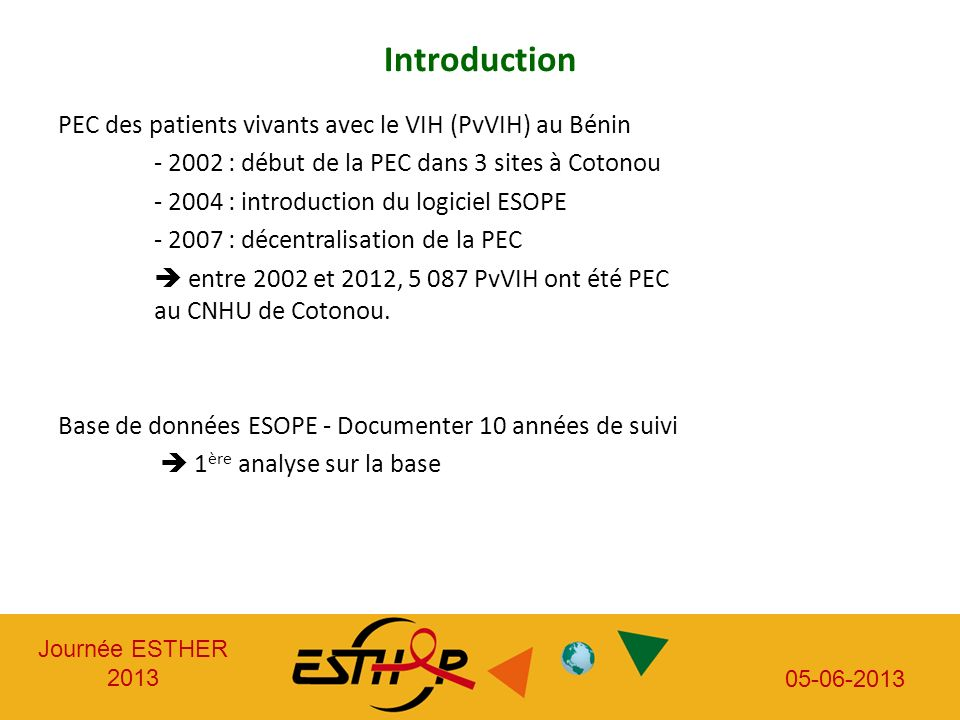 Journée ESTHER 2013 05-06-2013 Introduction PEC des patients vivants avec le VIH (PvVIH) au Bénin - 2002 : début de la PEC dans 3 sites à Cotonou - 20