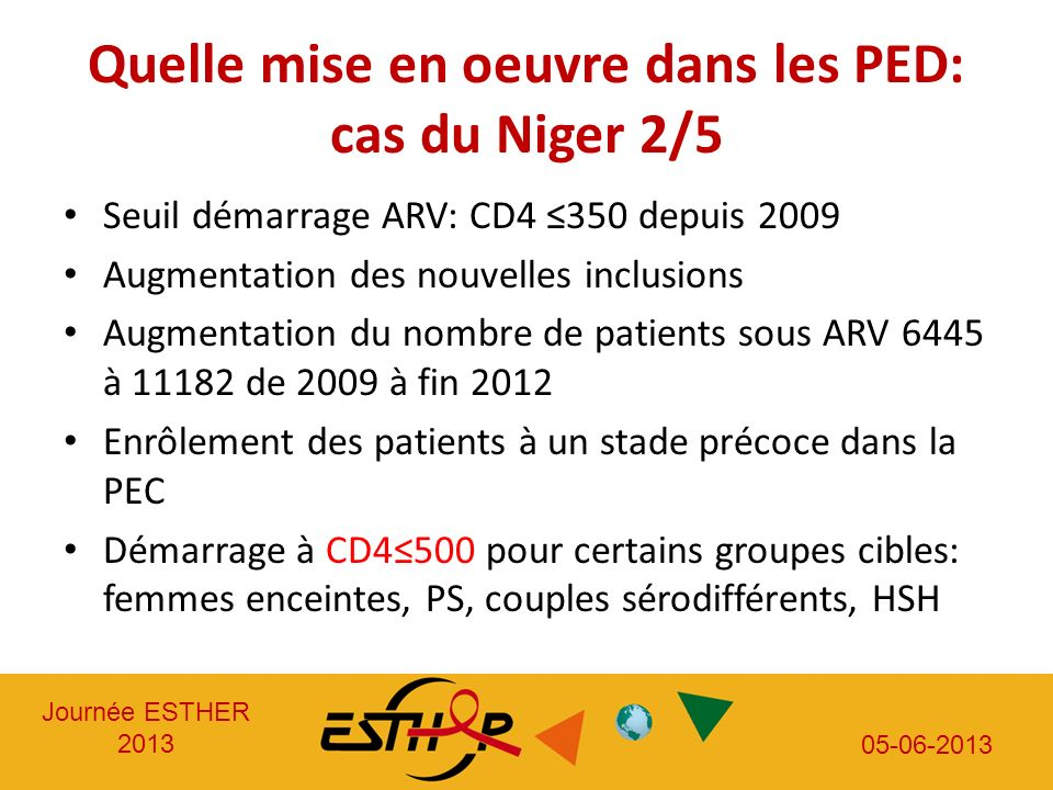 Journée ESTHER 2013 05-06-2013 Quelle mise en oeuvre dans les PED: cas du Niger 2/5 Seuil démarrage ARV: CD4 350 depuis 2009 Augmentation des nouvelles inclusions Augmentation du nombre de patients sous ARV 6445 à 11182 de 2009 à fin 2012 Enrôlement des patients à un stade précoce dans la PEC Démarrage à CD4500 pour certains groupes cibles: femmes enceintes, PS, couples sérodifférents, HSH