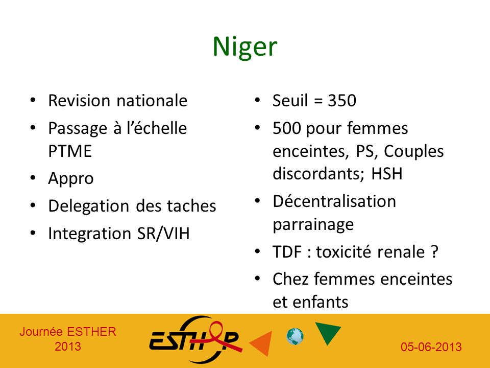 Journée ESTHER 2013 05-06-2013 Niger Revision nationale Passage à léchelle PTME Appro Delegation des taches Integration SR/VIH Seuil = 350 500 pour fe