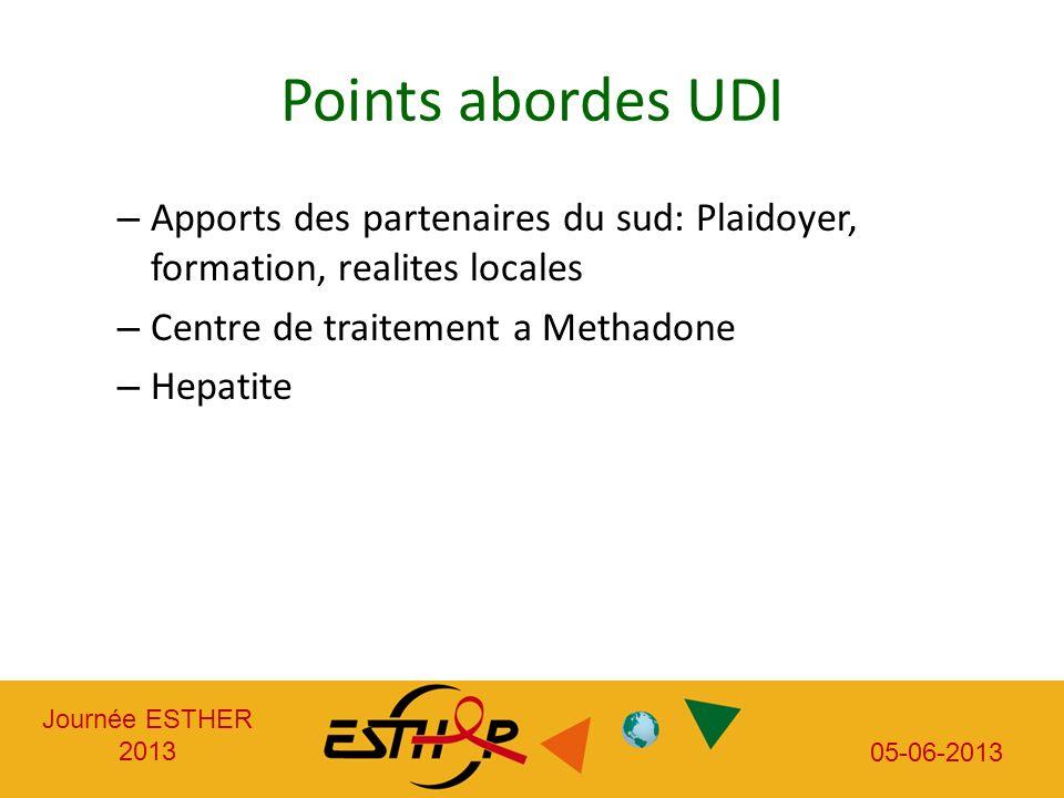 Journée ESTHER 2013 05-06-2013 Points abordes UDI – Apports des partenaires du sud: Plaidoyer, formation, realites locales – Centre de traitement a Methadone – Hepatite