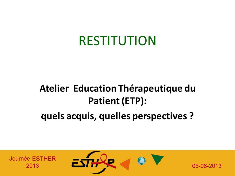 Journée ESTHER 2013 05-06-2013 Journée ESTHER 2013 05-06-2013 RESTITUTION Atelier Education Thérapeutique du Patient (ETP): quels acquis, quelles perspectives ?
