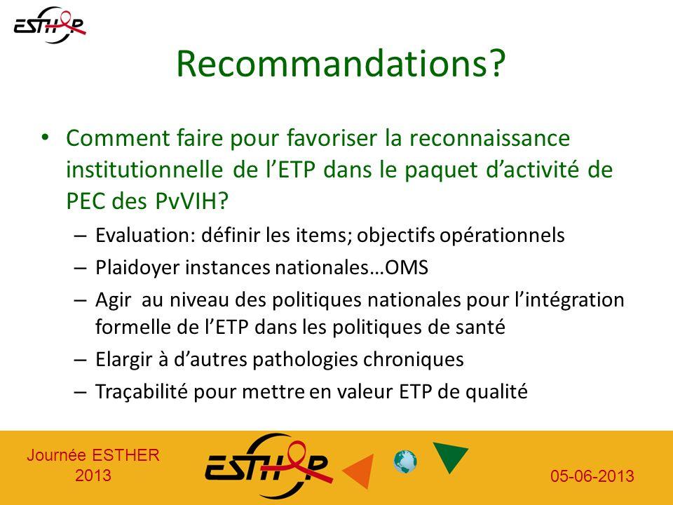 Journée ESTHER 2013 05-06-2013 Recommandations.