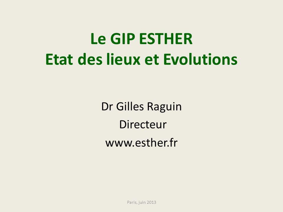 Le GIP ESTHER Etat des lieux et Evolutions Dr Gilles Raguin Directeur www.esther.fr Paris, juin 2013
