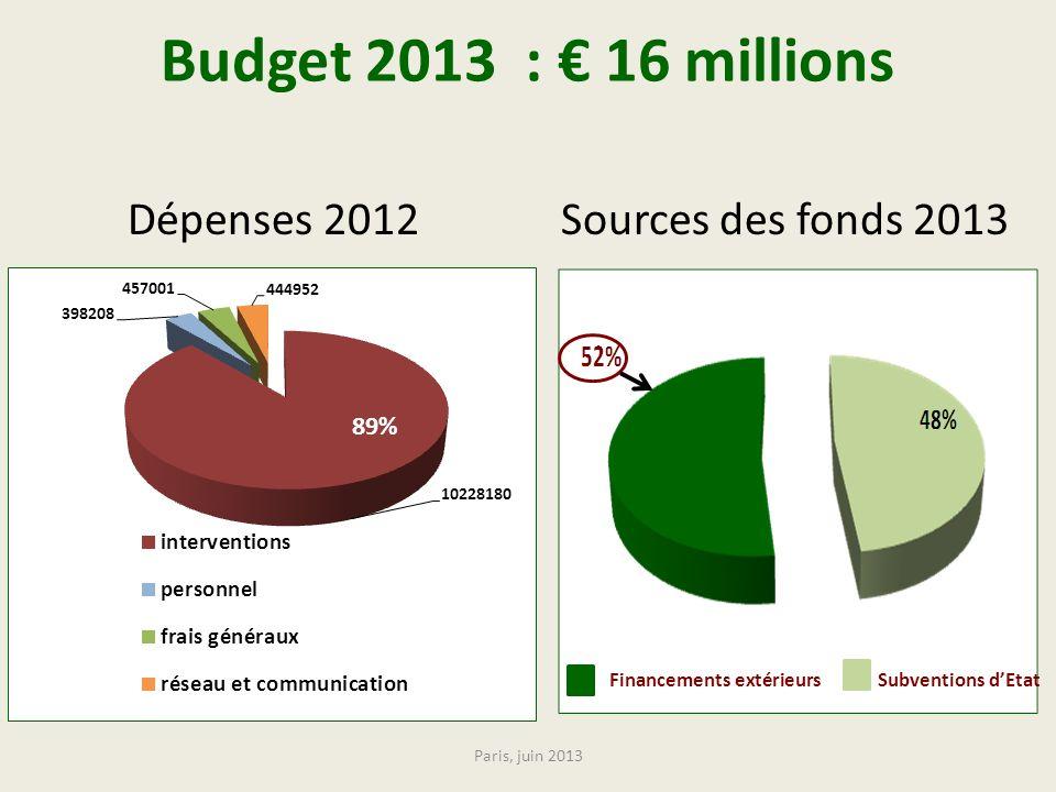 Budget 2013 : 16 millions Dépenses 2012 Sources des fonds 2013 89% Financements extérieurs Subventions dEtat Paris, juin 2013