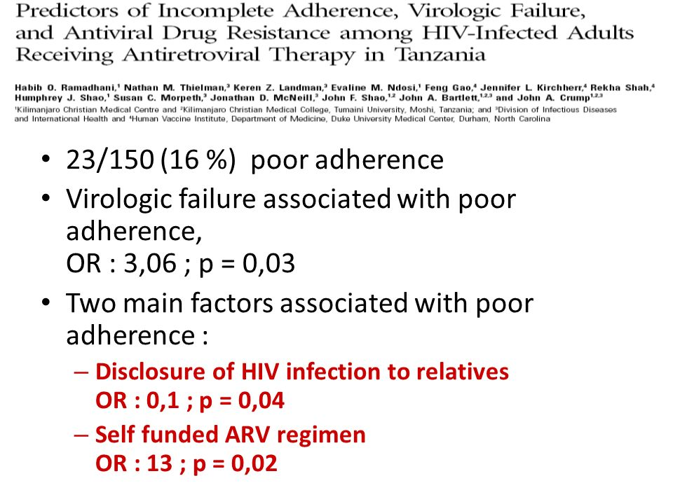 CID, 2007 23/150 (16 %) poor adherence Virologic failure associated with poor adherence, OR : 3,06 ; p = 0,03 Two main factors associated with poor ad