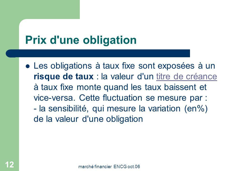 marché financier ENCG oct.06 11 Prix d'une obligation Le prix d'une obligation ne traduit pas sa cherté et seul le taux de rentabilité actuariel de l'