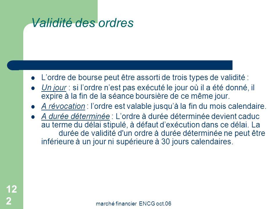 marché financier ENCG oct.06 121 Transmission des ordres La transmission des ordres de bourse se fait soit, directement, par lintermédiaire dune socié
