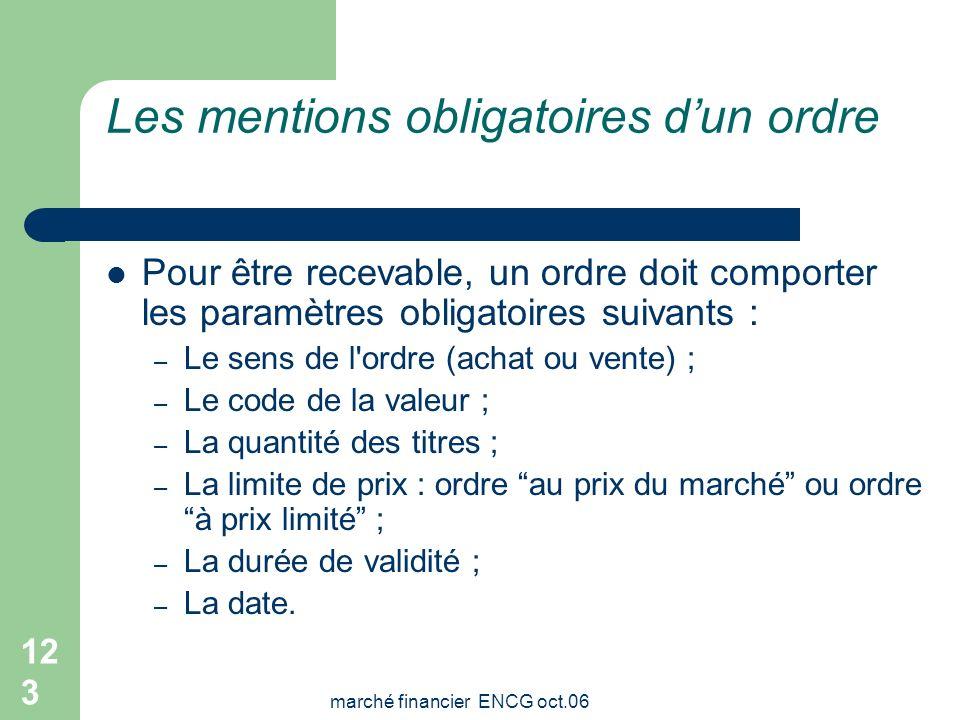 marché financier ENCG oct.06 122 Validité des ordres Lordre de bourse peut être assorti de trois types de validité : Un jour : si lordre nest pas exéc