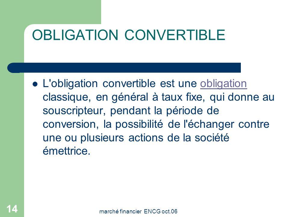 marché financier ENCG oct.06 13 Sensibilité de lobligation - la sensibilité, qui mesure la variation en pourcentage de la valeur d'une obligation indu
