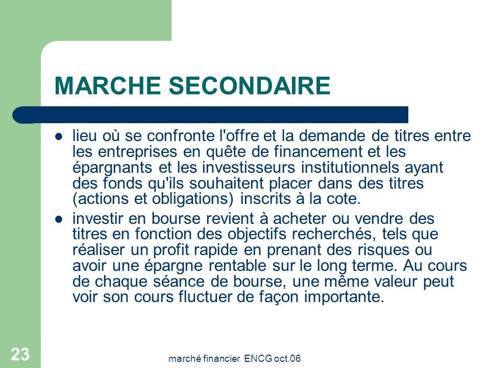 marché financier ENCG oct.06 22 Marché primaire défini comme étant