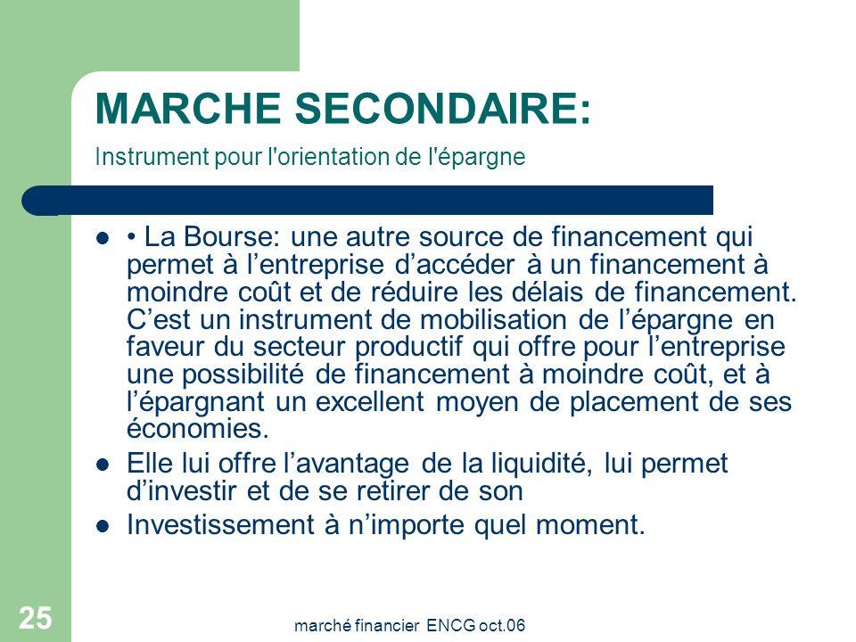 marché financier ENCG oct.06 24 MARCHE SECONDAIRE La Bourse est le lieu de rencontre entre les entreprises ayant un besoin de financement et les éparg