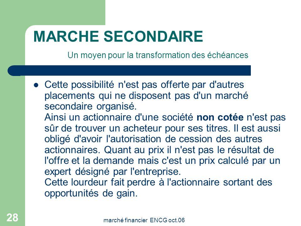 marché financier ENCG oct.06 27 MARCHE SECONDAIRE Un moyen pour la transformation des échéances La Bourse permet aussi aux investisseurs de convertir