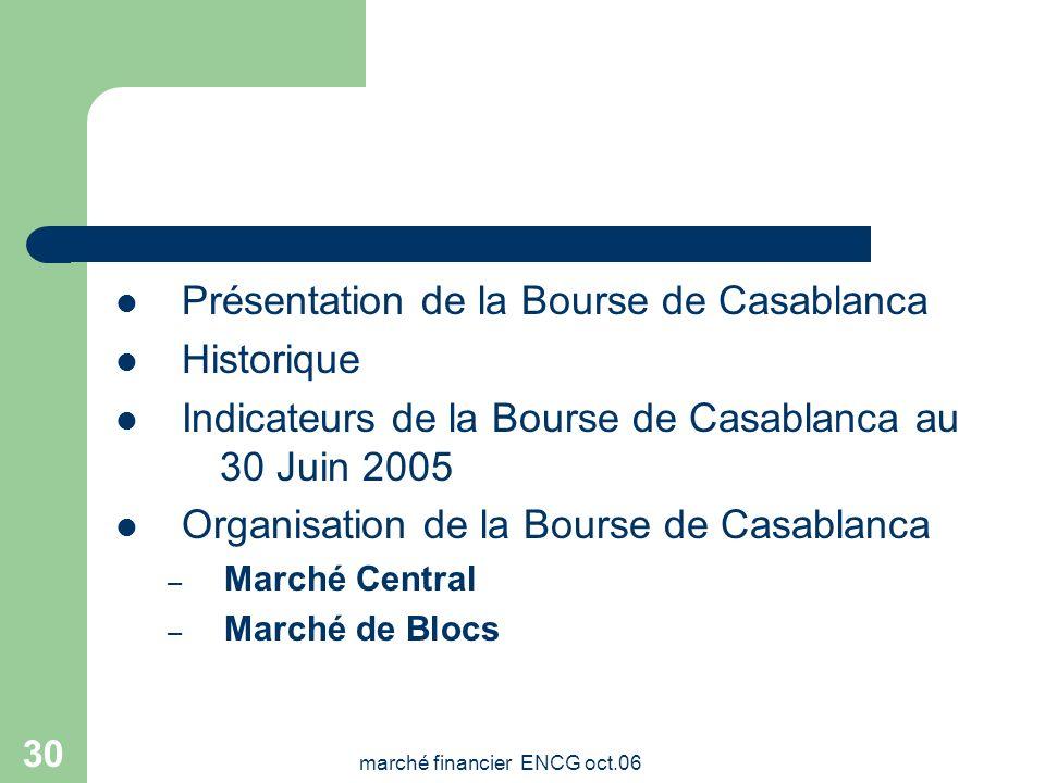 marché financier ENCG oct.06 29 BOURSE DE CASABLANCA: STRUCTURE ET FONCTIONNEMENT