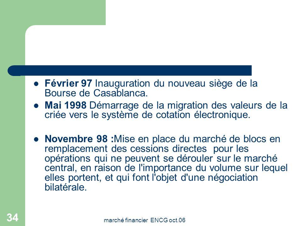 marché financier ENCG oct.06 33 Dates clés 1929:création 6 Septembre 1993 Promulgation de les lois créant la société gestionnaire de la Bourse de Casa