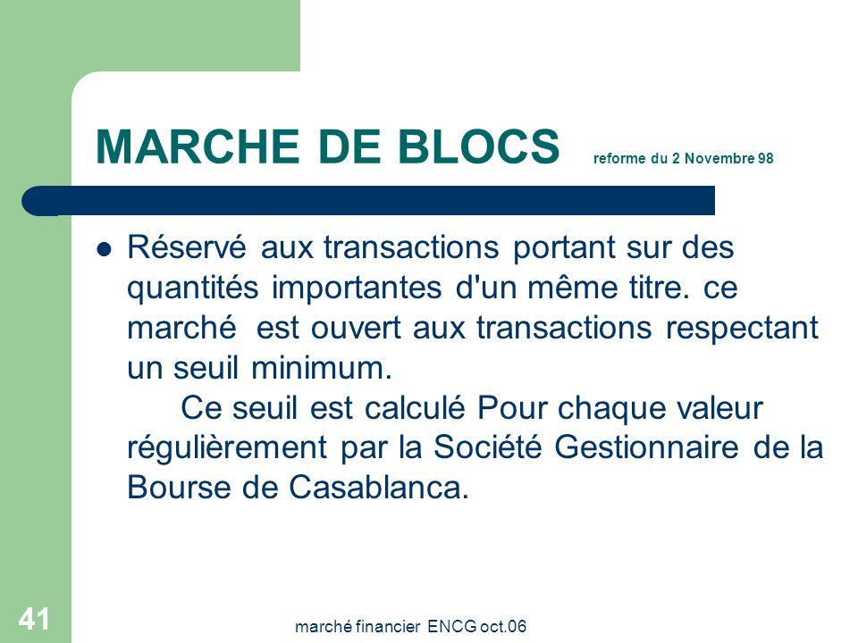 marché financier ENCG oct.06 40 Négociation électronique Toutes les valeurs sont traitées sur le système de cotation électronique à partir des station