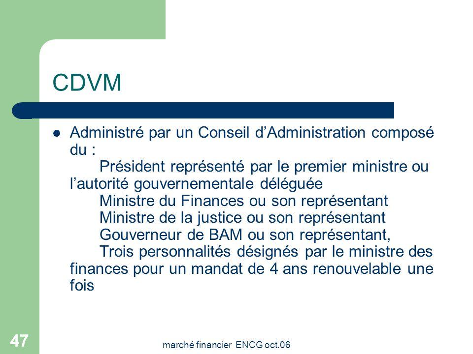 marché financier ENCG oct.06 46 CDVM Etablissement public doté de la personnalité morale et de lautonomie financière. Sous la tutelle du Ministère des